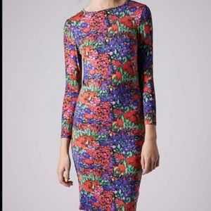 TOPSHOP tulip floral bodycon midi dress